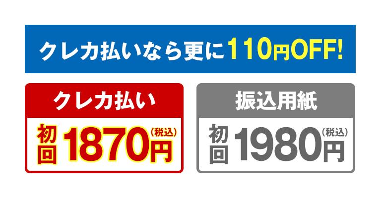 クレカ払いなら更に110円OFF!