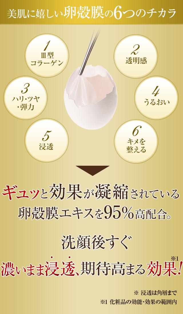美肌を育む卵殻膜の6つのチカラ ギュッと効果が凝縮されている卵殻膜エキスを95%高配合。だから、一滴でも効果発揮するんです  ※浸透は角層まで※化粧品効能・効果の範囲内 ※保湿成分・ハリを与える成分として配合