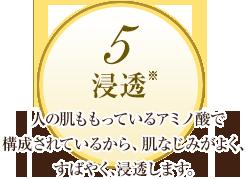 5 浸透:人の肌ももっているアミノ酸で構成されているから、肌なじみがよく、すばやく、深く浸透します。