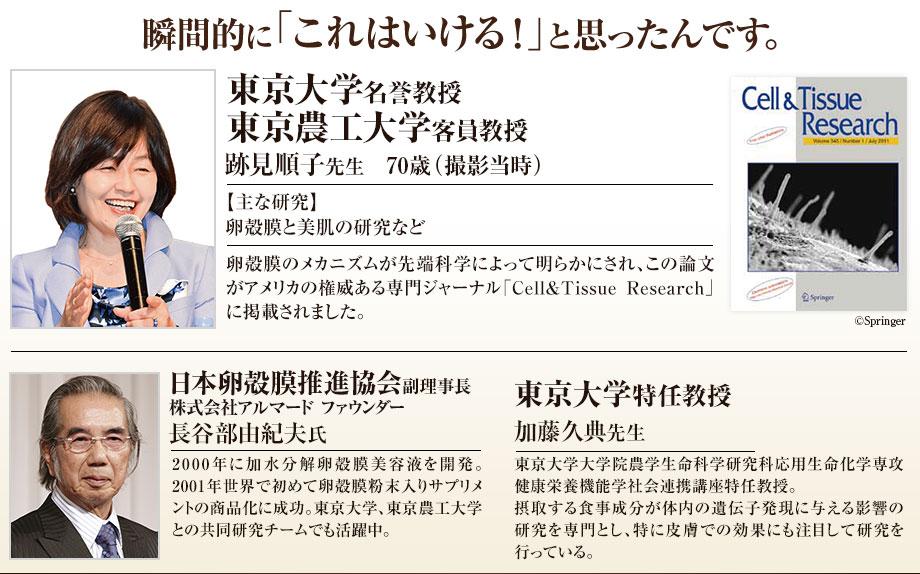瞬間的に「これはいける!」と思ったんです。 東京大学名誉教授 東京農工大学客員教授 跡見順子先生 70歳(撮影当時) 【主な研究】卵殻膜と美肌の研究など 卵殻膜のメカニズムが先端科学によって明らかにされ、この論文がアメリカの権威ある専門ジャーナル「Cell&Tissue Research」に掲載されました。  東京大学特任教授 加藤久典先生 東京大学総括プロジェクト機構特任教授。摂取する食事成分が体内の遺伝子発現に与える影響の研究を専門とし、特に皮膚での効果にも注目して研究を行っている。  日本卵殻膜推進協会理事 株式会社アルマード代表取締役会長 長谷部由紀夫氏 2000年に加水分解卵殻膜美容液を開発。2001年世界で初めて卵殻膜粉末入りサプリメントの商品化に成功。東京大学、東京農工大学、東京理科大学、米子工業高等専門学校の研究チームでチームリーダーとしても活躍中。