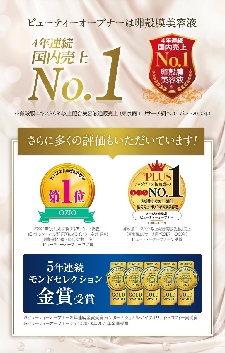 ビューティーオープナーは卵殻膜美容液4年連続国内売上NO.1